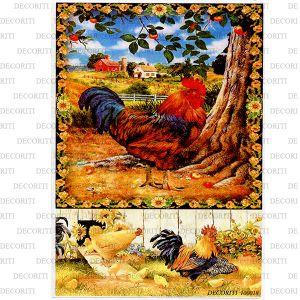 Рисовая бумага с рисунком DECORITI 100018, формат А4, Петух в подсолнуховой рамке ― HandMadeDecor