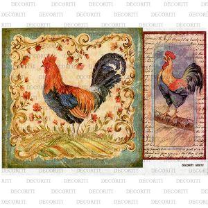 Рисовая бумага с рисунком DECORITI 100019, формат А4, Петухи  ― HandMadeDecor