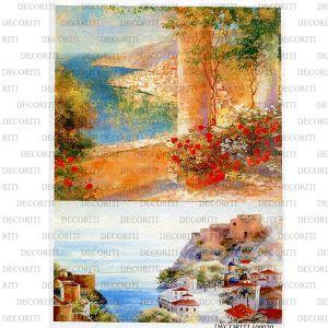 Рисовая бумага с рисунком DECORITI 100020, формат А4, Итальянское побережье ― HandMadeDecor