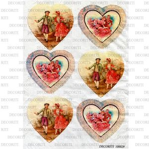 Рисовая бумага с рисунком DECORITI 100029, формат А4, Валентинки / парочки в сердечках   ― HandMadeDecor