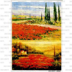 Рисовая бумага с рисунком DECORITI 100040, формат А4, Тосканские пейзажи ― HandMadeDecor