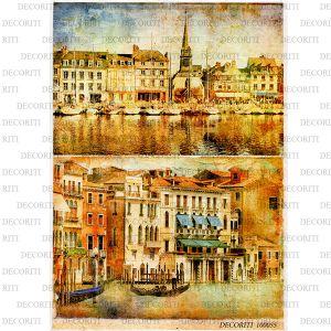 Рисовая бумага с рисунком DECORITI 100055, формат А4, Венеция - ретро ― HandMadeDecor