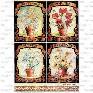 Рисовая бумага с рисунком DECORITI 100057, формат А4, Цветы в горшках ― HandMadeDecor