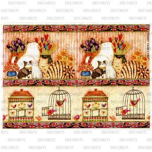 Рисовая бумага с рисунком DECORITI 100064, формат А4, Кантри / кошки и птички в клетках ― HandMadeDecor