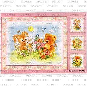 Рисовая бумага с рисунком DECORITI 100066, формат А4, Детское - мишка и зайка ― HandMadeDecor