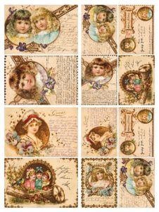 Бумага для декупажа Calambour DGE 16, 35*50, куклы/текст  - ПОДАРОК (при покупке от 2000 руб) ― HandMadeDecor
