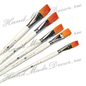 """Кисть золотистая синтетика """"Невская палитра"""" плоская №22, длинная белая деревянная ручка      ― HandMadeDecor"""