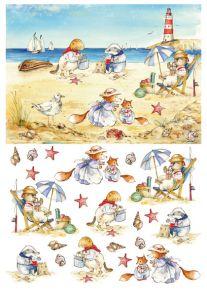 бумага малберри Calambour RP 68 животные на пляже  ― HandMadeDecor