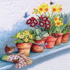 Салфетка для декупажа, 1475, 33х33 см, Цикламены и другие весенние цветы в горшочках ― HandMadeDecor