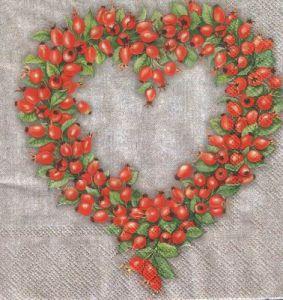 Салфетка для декупажа, 6210 сердечко из красных ягод ― HandMadeDecor