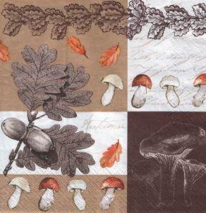 Салфетка для декупажа, 6349 грибы и желуди ― HandMadeDecor
