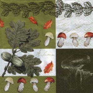 Салфетка для декупажа, 6501 грибы и дубовая ветка ― HandMadeDecor