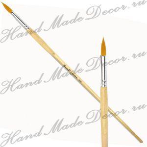 """Кисть золотистая синтетика """"Sonnett"""" круглая №08, длинная  деревянная ручка покрытая лаком ― HandMadeDecor"""