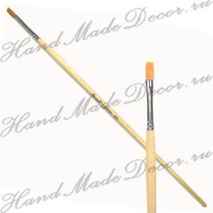 """Кисть золотистая синтетика """"Sonnett"""" плоская №02, длинная  деревянная ручка покрытая лаком ― HandMadeDecor"""