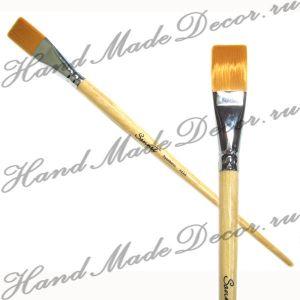 """Кисть золотистая синтетика """"Sonnett"""" плоская №10, длинная  деревянная ручка покрытая лаком  ― HandMadeDecor"""