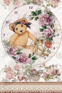 Декупажная карта А2А, арт. TI000036 (Циферблат: Мишка в розовом саду), формат А4 ― HandMadeDecor