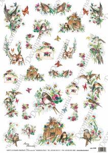 Рисовая бумага с рисунком DECOMANIA, арт. Д5180 Весна, птички ― HandMadeDecor