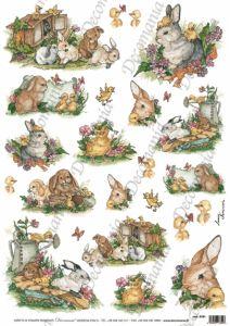 Рисовая бумага с рисунком DECOMANIA, арт. Д5181 Кролики ― HandMadeDecor