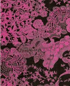 Бумага для техники DECOPATCH, арт 460, розовые кружева на черном фоне, 30x39см ― HandMadeDecor