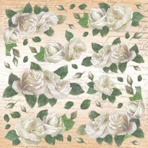 Рисовая салфетка STAMPERIA, арт. DFT181, 50х50см Белые розы  ― HandMadeDecor