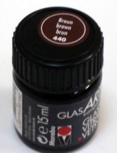 Витражная краска на основе алкидной смолы MARABU GlassArt, цвет 440 коричневый, 15мл ― HandMadeDecor