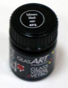 Витражная краска на основе алкидной смолы MARABU GlassArt, цвет 473 черный, 15мл ― HandMadeDecor