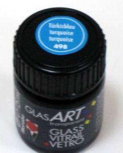 Витражная краска на основе алкидной смолы MARABU GlassArt, цвет 498 бирюзовый, 15мл ― HandMadeDecor