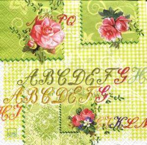 Салфетка для декупажа, 0547 розы и алфавит ― HandMadeDecor
