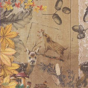Салфетка для декупажа, 1856 лесные зверята ― HandMadeDecor