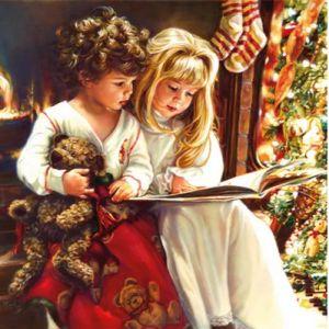 Салфетка для декупажа, 2112, дети читают сказки перед сном, 33х33 см ― HandMadeDecor