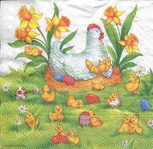 Салфетка для декупажа, 2749 курочка с цыплятами ― HandMadeDecor