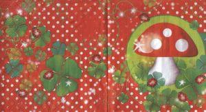 Салфетка для декупажа, 8404, Божьи коровки и грибок на красном фоне в горошек ― HandMadeDecor