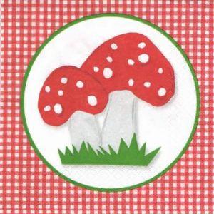 Салфетка для декупажа, 8930 мухоморы и красная клетка ― HandMadeDecor
