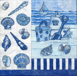 Салфетка для декупажа, 3874, Море и ракушки - синий монохром, 33х33 см ― HandMadeDecor