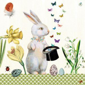 Салфетка для декупажа, 1116, Пасхальный кролик с циллиндром, цветы, бабочки и яйца  ― HandMadeDecor