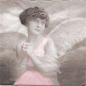Салфетка для декупажа, 3804, 33х33 см, Ангел в розовом ретро-фото ― HandMadeDecor